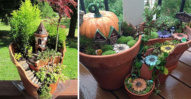 18 pots de fleurs bris s qui ont t transform s en - Comment aller au jardin d acclimatation ...